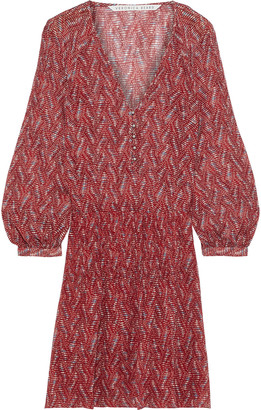 Veronica Beard Priya Pintucked Printed Silk-georgette Mini Dress