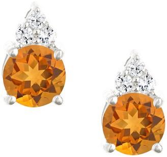 Premier 1.10cttw Round Citrine & Diamond Earrings, 14K