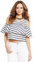 Gianni Bini Shoshanna Stripe Ruffle Cold Shoulder Blouse