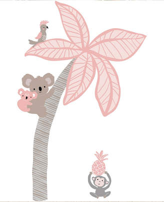 Lambs & Ivy Calypso Coral/Taupe Koala and Palm Tree Nursery Wall Decals/Appliques Bedding