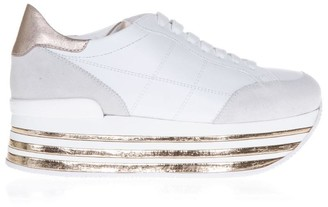 Hogan Maxi 222 White And Bronze Suede Sneakers