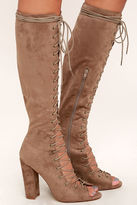 Liliana Aiden Taupe Suede Lace-Up Knee High Boots