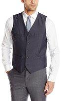 Perry Ellis Men's Tonal Mini Plaid Suit Vest