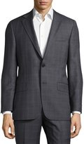 Hickey Freeman Classic-Fit Plaid Wool Suit, Gray