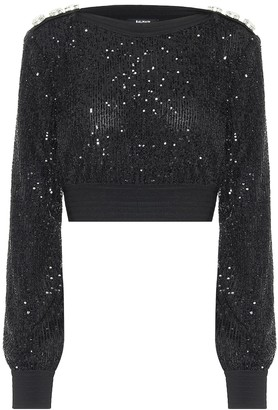 Balmain Sequined cropped sweater
