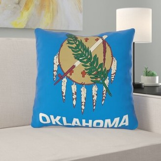 """Centers Oklahoma Flag in , Faux Suede/Throw Pillow-Concealed Zipper-Indoor East Urban Home Size: 14"""" x 14"""", Fill Material: Polyester"""