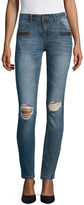 Vanilla Star Destructed Zipper Front Motto Skinny Jeans-Juniors