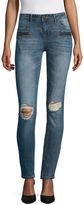 Vanilla Star Destructed Zipper Pocket Skinny Jeans-Juniors