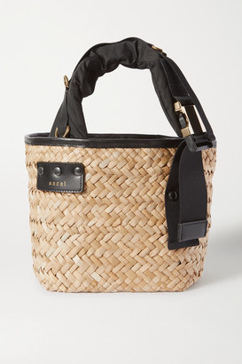 Sacai Shell And Leather-trimmed Woven Straw Tote - Black