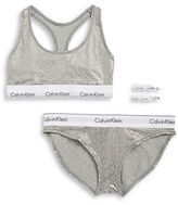 Calvin Klein Cotton-Blend Bralette, Bikini Panties and Hair Ties Set