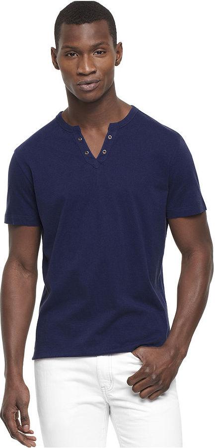 Kenneth Cole Reaction Shirt, Short Sleeve Eyelet V-Neck Henley