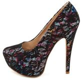 Charlotte Russe Lace Overlay Floral Print Pump