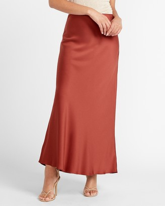 Express High Waisted Satin Maxi Slip Skirt