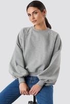 NA-KD Balloon Sleeve Sweatshirt Grey