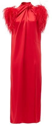 16Arlington Yoshina Feather-trimmed Satin Midi Dress - Red