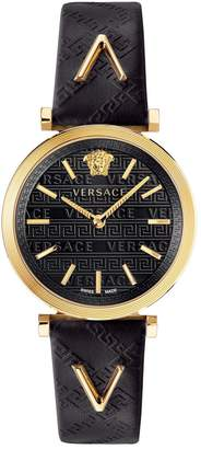 Versace V-Twist Black Sunray and Gold Detail Dial Black Leather Strap Ladies Watch