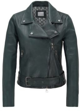 HUGO BOSS Asymmetric biker jacket in nappa leather with belted waist