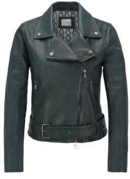 BOSS Asymmetric biker jacket in nappa leather with belted waist