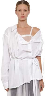 Ann Demeulemeester Belted Cotton Poplin Shirt