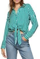 Miss Selfridge Stripe Tie Front Button-Down Shirt