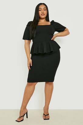boohoo Plus Peplum Puff Sleeve Midi Dress