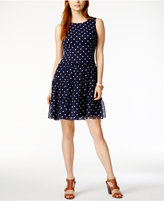 Tommy Hilfiger Polka-Dot Fit & Flare Dress, Only at Macy's