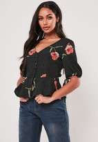 Missguided Black Floral Button Peplum Blouse