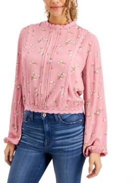 Self Esteem Juniors' Lace-Trim Floral-Print Blouse