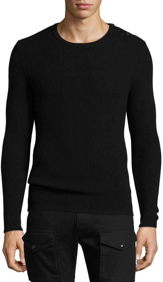 Ralph Lauren Ribbed Cashmere Button-Shoulder Sweater, Black