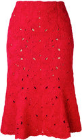 Salvatore Ferragamo lace embroidery skirt - women - Cotton/Polyamide/Viscose - S