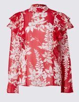 Marks and Spencer High Neck Cherry Blossom Blouse