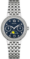 Bulova Diamond-Accented Stainless Steel Moon Phase Watch, 96R210
