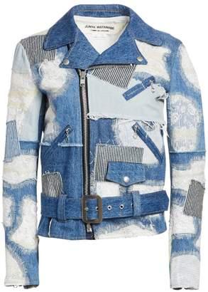 Junya Watanabe Patchwork Lace Denim Moto Jacket