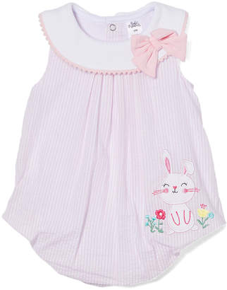 Baby Essentials Girls' Rompers Pink - Pink Bunny Pleated Yoke Romper - Infant