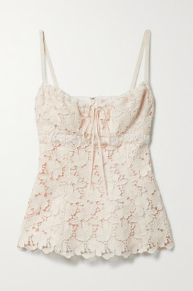 Brock Collection Siria Grosgrain-trimmed Cotton-blend Guipure Lace Camisole - Ivory