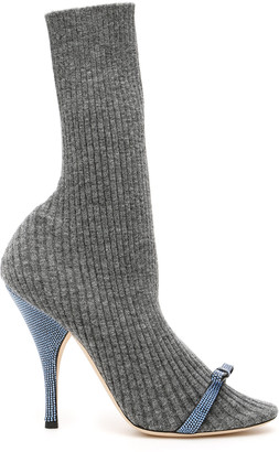 Marco De Vincenzo Knit Booties With Micro Crystals