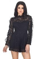 AX Paris Black Ruffle Sleeve Laced Playsuit