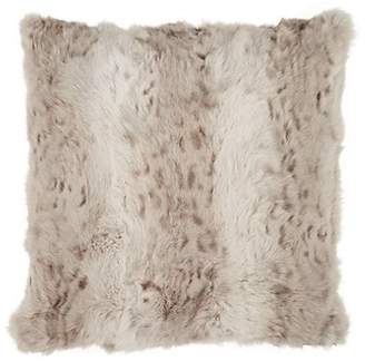 Adrienne Landau Leopard-Print Rabbit Fur Pillow