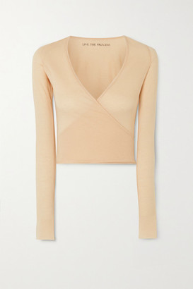 Live The Process Wrap-effect Cotton And Cashmere-blend Top - Sand