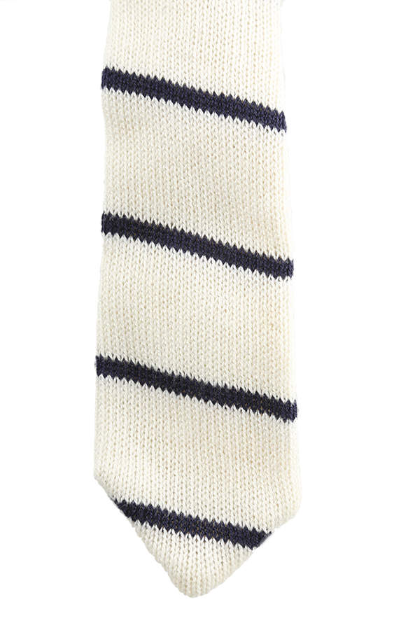 Alexander Olch White Knit Blue Stripe Tie