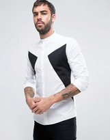 Asos Skinny Cut And Sew Shirt With Grandad Neck