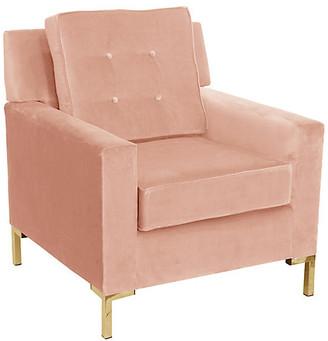One Kings Lane Winston T Leg Club Chair - Pink Velvet