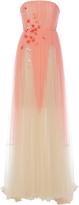 DELPOZO Strapless Silk-Tulle Degrade Gown