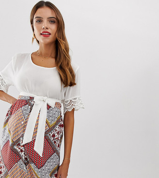 Mama Licious Mama.Licious Mamalicious maternity lace cuff textured t-shirt-White