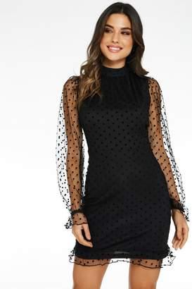 Quiz Black Polka Dot Bodycon Dress