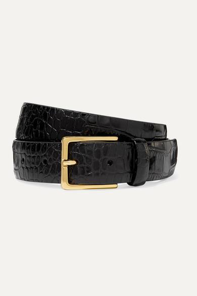 Andersons Croc-effect Leather Belt - Black
