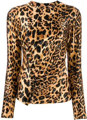 Paco Rabanne gathered leopard-print T-shirt