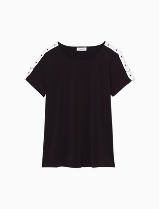Calvin Klein Striped Grommet Short Sleeve Pullover Top