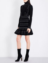 Alexander McQueen Eyelet-detailed turtleneck knitted dress