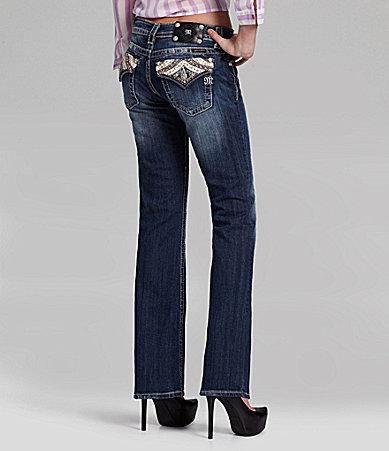Miss Me Leather-Embellished Bootcut Jeans